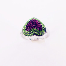 Factory price fashion ring colorful heart shape diamond rings