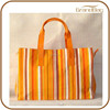 Best Selling Products Canvas Shopping Bag Orange Fabric Shopping Bag Stripe Resuable Shopping bags with Zip and Lining