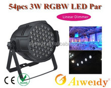 Stage Par can with Linear Dimmer 54pcs 3W RGBW LED PAR