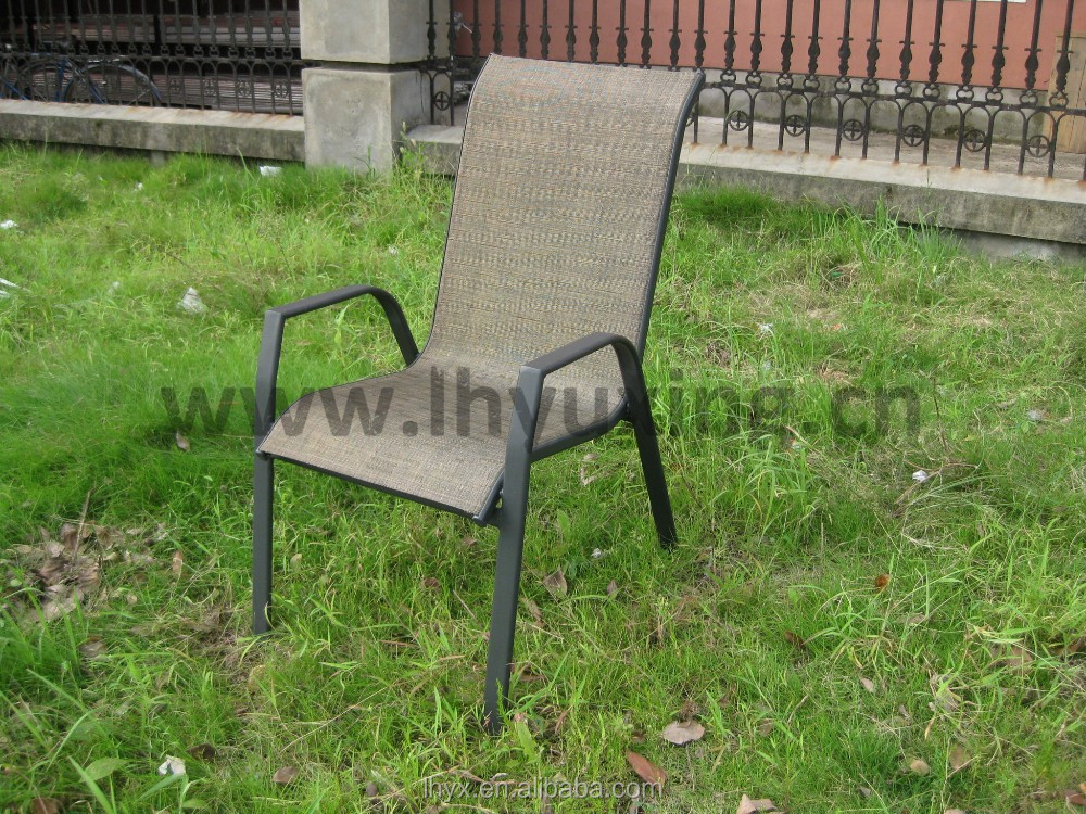 outdoor metal stackable patio dining chair sling armchair garden