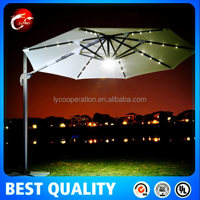 patio ext rieur led parapluie lumi re avec t l commande. Black Bedroom Furniture Sets. Home Design Ideas