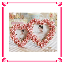 2015 top sale wooden double heart love photo frame latest design love photo frame