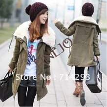 Lady Fashion Fur Collar Lambs Flocking Thick Cotton-padded Clothes Coat Outerwear 3471