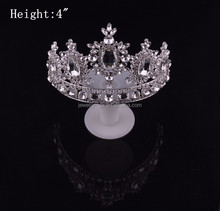 New arrive fashion metal silver plated diamond kings and queen crowns for sale