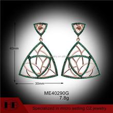 elegant emerald 925 silver cz fat triangle earrings