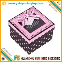 Wholesale alibaba cardboard square gift box with clear lid