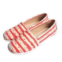 2015 high quality comfort fashion striped casual canvas flat shoes for women
