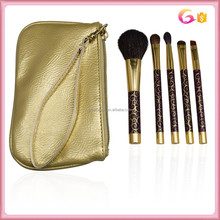 Best seller professional 5pc thermal transfer mini travel brush set with wristlet top zip case