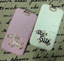 For S4 Crazy Horse design Real Leather Flip case with Credit holder & magnetic pull 2colors Stocks