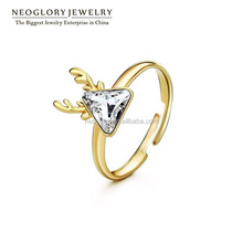 Neoglory Adjustable Cute Austria Crystal Women Rings 14K Gold Plated Christmas New Year Gift