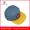 wholesale custom yellow flat brim embroidery patch air holes plastic backclosure 5 panel snapback cap