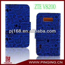 Wholesale pu leather cell phone case for ZTE v8200