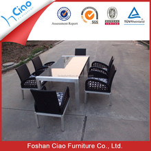 Beauty large size glass office table rattan outdoor furniture