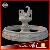 Decorative White Stone Children Statue Marble Fountain