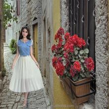 2015 Hot venta elegante algodón blanco largo faldas para mujer