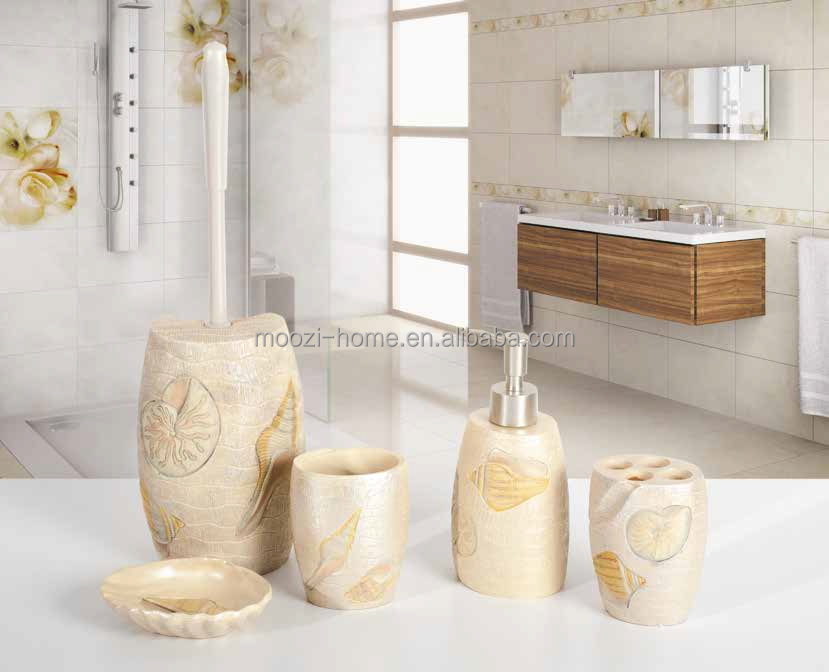 fancy sea shell bathroom set wholesale bath accessories