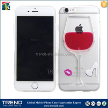 new products 2016 red wine glass beer moving liquid 3d new case cover for iPhone 6