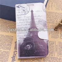 Retro Stamp Eiffel Tower Overpass Wallet Leather Case Cover for Samsung Galaxy S4 I9500