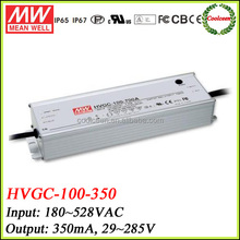Meanwell constant current led driver 350ma HVGC-100-350