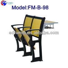FM-B-98 fireproof folding aluminium attached school desks and chair best price