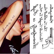 Hot Sale Temporary Tattoo Stickers Temporary Body Art Supermodel Stencil Designs Waterproof Letters Gun Tattoo Pattern For Women