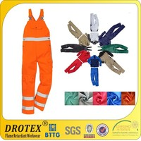 Hot sale cotton fireproof overall fireproof bib pants with reflective tape / safety uniform