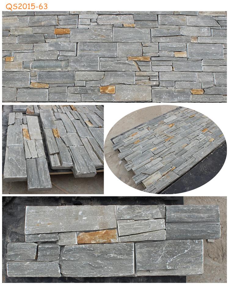 Outside Wall Material : Stone wall panel corner natural quartz ledge