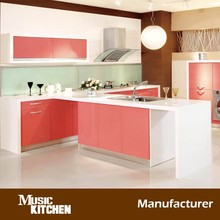 Cheap price melamine finished pink kitchen furniture