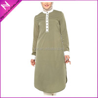 muslim buttoned long sleeve blouse