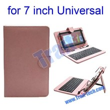 7 Inch Tablet PC Crystal Texture Leather Keyboard Case with Holder & Micro USB Cable