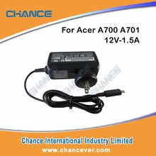 Manufacturer New Design 12V-1.5A 18W Laptop AC Adapter for Acer A700 A701 A510