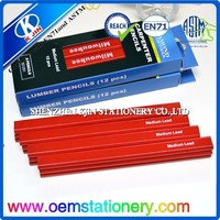 2015 high quality 12 into paperbox red paint octagonal carpenter's pencil