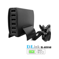 Most Powerful Smart 60W 6 Port 12A Multi USB Charger with USB Cable Family Size Desktop USB Charging Station for iPhone