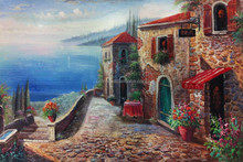 Dafen Oil Painting Village Big Wholesale Handmade Stone and Sea Oil Painting Canvas