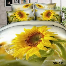Luxury big yellow sunflower 3D comforter set