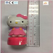 Lovely hello kitty plastic cartoon stamp toy with different pattern for kids