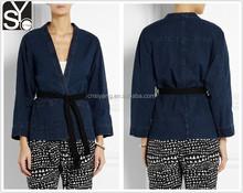 woman long sleeve denim jacket, plus size kimono jacket SYA15054