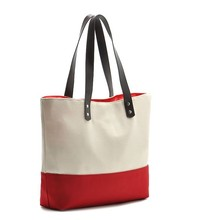 high quality Canvas bag/cotton bag/canvas tote bag leather handle
