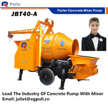 portable trailer concrete mixer and pump