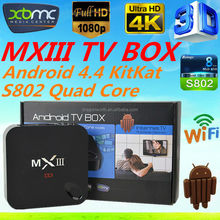 Hot selling Android 4.4 TV BOX Quad core Amlogic S802 Bluetooth 4.0 1GB RAM 8GB ROM mx3 Smart tv box Support Multi-languages
