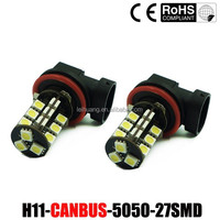 New 5050 27 smd car bulb, canbus led p21w py21w w21w w21/5w H4 H7 H8 H11 Fog light