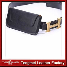 Universal Mobile Phone Belt bag PU Leather Cover Case Waist Bag Pouch Black Cross Style