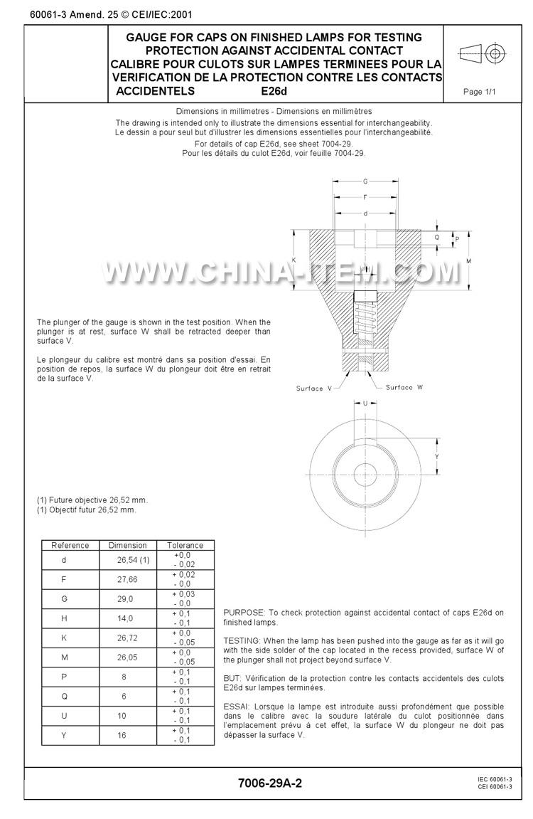 E26d Gauge of Lamp Caps