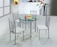 cheap glass dining table set MD21 with metal leg