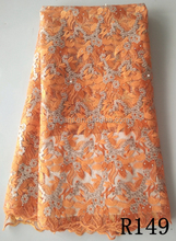 unique french lace, french lace fabric, excellent quality african french lace R149 orange