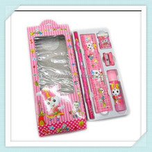 School Gift Pencil Eraser Sharpener Ruler Set Packed in Colorful Gift Box