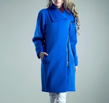 latest ladies quality overcoat blue wool/polyester woman factory wholesale coat