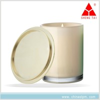 customized luxury anti-finger print zinc alloy metal material plated gold candle lid for glass jar