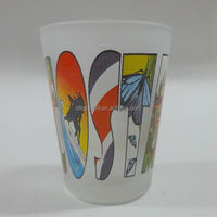 New prooduce colorful letter printing cheap 54ml vodka drinking glass shot glass cup wholesale mexican glassware
