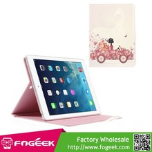Fast Shipping Rhinestone Leather Stand Case for iPad Air - Beauty on the Car with Flowers